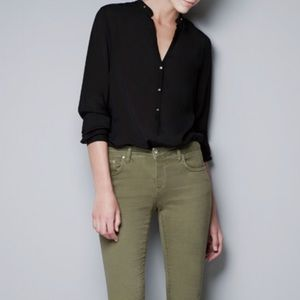 Zara Woman Gold Buttoned Shirt Black Size Small
